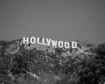 Hollywood Sign, Black and White, Hollywood Photography, California Photography, Fine Art Photography, Large Wall Art, Living Room Art