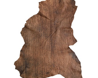 Brown full leather skins with a rustic textured finish in genuine lambskin leather material FS875-4