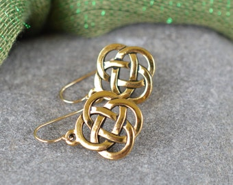 Irish Open Celtic Knot Earrings with 14K Gold Filled Ear wires- Larger Size