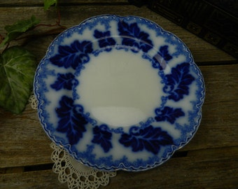 """Antique Flow Blue Johnson Brothers Normandy 9 3/4"""" Dinner Plate- England"""
