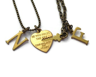He Who Holds The Key Necklaces, Key To My Heart, His & Hers Set, Boyfriend Jewelry, Girlfriend Necklace, Heart Lock and Key, Wife to Husband