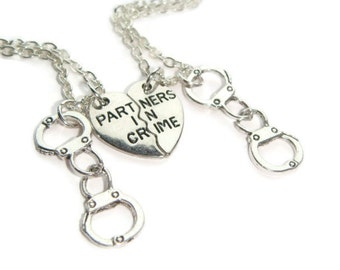 Friendship Necklace For 2, Partner In Crime Necklaces, Best Friends Set, Half Heart Charms, Gift For Sisters, Friend Token, BFF Jewelry