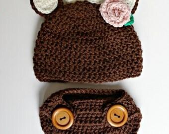 Baby Deer Reindeer Crochet Costume Girl Rose