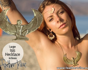 Isis Goddess Necklace Premium Large - Brass - Egyptian- The Isis Collection - Feather Tribe