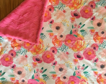Floral Minky Baby Blanket- pink, floral nursery, double minky, florals, modern baby blanket, girl baby shower gift, dwell darling