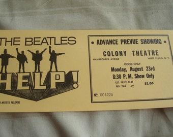 1960-70'S The Beatles Help Colony Theatre Ticket