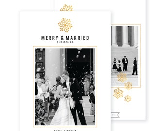 Custom Photo Holiday Card | DIY Printable or Printed | Happy Holidays | Merry Christmas Card | Merry and Married | Faux Gold | 5x7 | #602