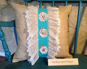 Burlap pillow with lace and turquoise trim