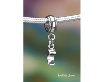 Tiny Sterling Silver Whistle Charm or Bracelet Sport Coach Referee 925