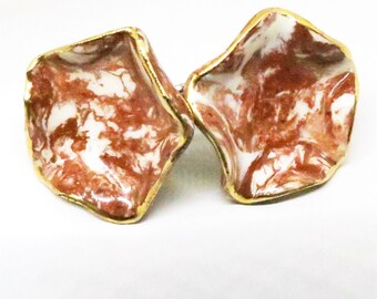 Brown Milvern Earrings - Beautiful, Vintage, Artistic Porcelain Screw Back Earrings