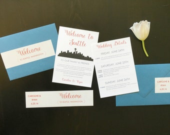 Wedding Gift Bag Itinerary : Wedding Weekend Itinerary / Welcome Gift Bags / by JustJurf