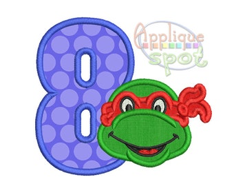 Ninja Turtle Eigth 8th Birthday 8- 4x4 5x7 6x10 Applique Design Embroidery Machine -Instant Download File