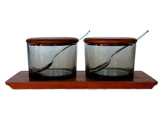Danish Modern Condiment Server, Teak, Smokey Glass, Spoons Included