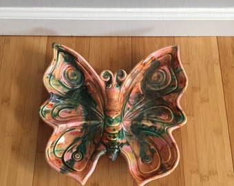 GORGEOUS Vintage Butterfly Pottery Dish
