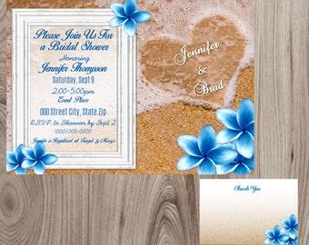 Heart in Sand  Beach Bridal Shower Invitation