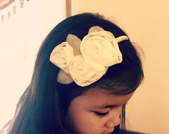 Ivory Chiffon 3D Rose Flower baby Girl Headband, Girl Hair Accessories