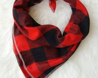 Red and BLACK Buffalo Plaid //Dog Bandana//