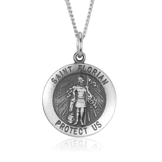 St Florian Necklace: Saint Florian 18.5mm Sterling Silver Pendant By