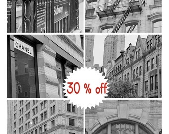 Black and white New York photography set of 6 prints, new york city prints, New York wall art, urban wall decor, set of 6 nyc pictures, sale