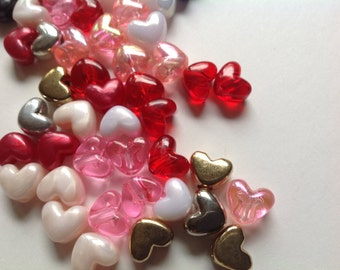 Vintage supply of acrylic heart beads  crafting beading