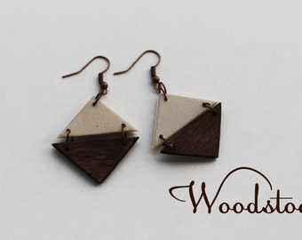 Triangle geometric wooden  boho earrings, aztec inspired earrings, Natural Earrings, Dangling Earrings,  Black and white earrings