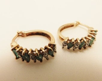 Gold Tone Vermeil Sterling Silver Emerald Hoop Earrings