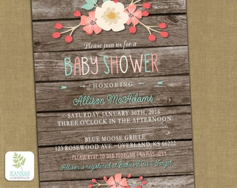Baby Shower Invitation Girl Baby Shower Barnwood Vintage Shabby Floral Coral Aqua Pink