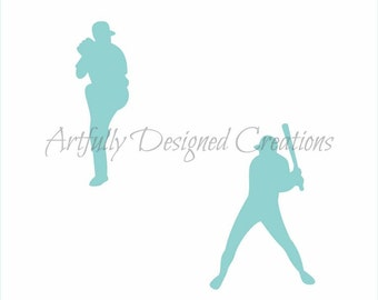 Baseball Players Silhouette Stencil