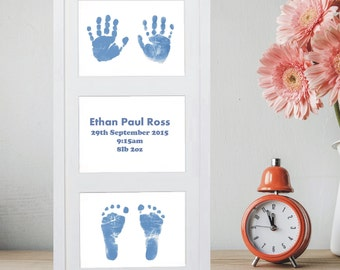 Large Framed 3 Part Artwork Displaying Baby Hands and Foot Prints  - Baby Keepsake, Baby Prints, Handprints, Footprints, 1st Christmas