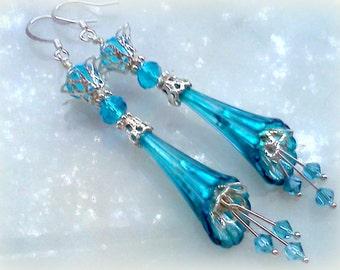Hand Painted Earrings, Lucite Earrings,Blue Earrings, Handmade Earrings, Flower Earrings, Teal Earrings, Long Dangles, Bright Blue Earrings