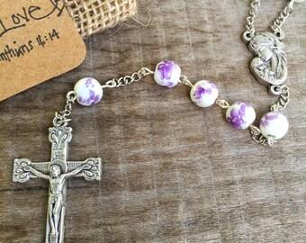 Amethyst Ceramic Flower Rosary