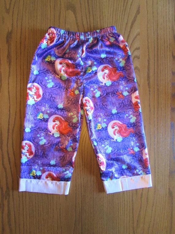 Arial pajamas/little mermaid pajamas/girls pajamas/satin pajamas/women's mermaid pajamas/girls satin pajamas/women's satin/mommy and me