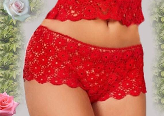 Sexy Panties Boy Shorts Hand Made Lace Crochet Lingerie Underwear Fashion Design Briefs