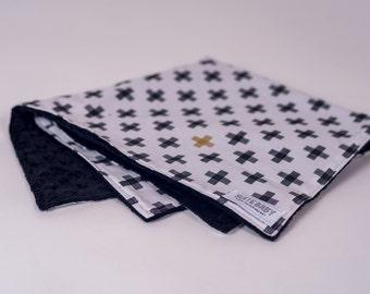 Lovey Criss Cross Monochrome. Ready to Ship. Mini Baby Blanket. Black + White Lovie. Security Blanket. Lovie. Minky Lovey. Baby Shower Gift.