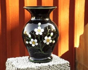 Art Deco Glass Vase, Swedish Art Glass, 1920s, Åfors Glass Works, Black Glass, Hand Made, Hand Painted, Scandinavian Collectibles, Sweden