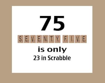 75th Birthday Card, 1942 Birthday Card, Milestone Birthday, 75th Birthday, Scrabble Birthday Card,