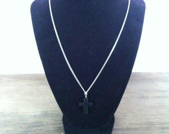 black gemstone cross necklace. Catholic jewelry. Christian gift. religious, faith.