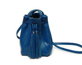 Blue Leather Bucket Bag // Mini tassel drawstring bucket bag // Crossbody or shoulder bag in Lapis Blue