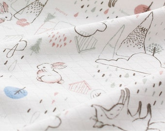 Bamboo Jacquard Knit Fabric Rabbit & Fox By The Yard