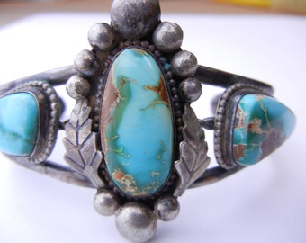 Incredible Vintage Silver and Turquoise  Native American Cuff Bracelet