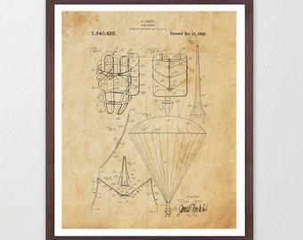 Skydiving Patent Poster - Skydiving Art - Parachute Patent Print - Parachute Art - Skydiving Wall Art - Skydiving - Parachute Poster - Plane