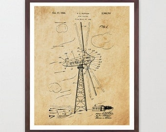 Wind Turbine Patent Poster - Wind Turbine Poster - Wind Turbine Art - Renewable Energy - Green Energy - Energy Poster - Electricity - Wind