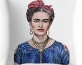 Frida Kahlo Kissen  - Kissenbezug mit Portrait-Bild Frida Kahlo, 40 cm