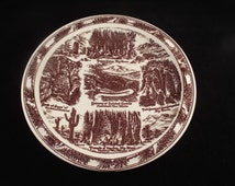 """Texas State Collector Plate, by Vernon Kilm, 10.25"""" Brown and Beige Plate, Vintage Historial Plate, USA"""