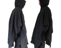 Dark Poncho mens alpaca wool jumper hoodie warm winter sweater jacket  boho hippie handmade fair trade black