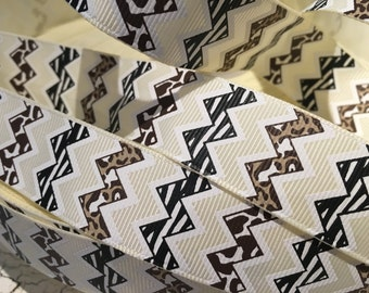 "3 yards 7/8"" Animal zebra leopard safari chevron grosgrain ribbon"