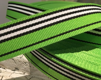 "3 YARDS 7/8"" Preppy Green Black and White White Stripe Grosgrain Ribbon"