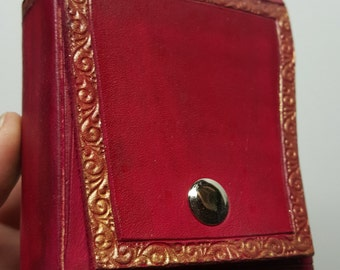Steampunk Red/gold Leather Pouch  3 X 3.5 X 1 small
