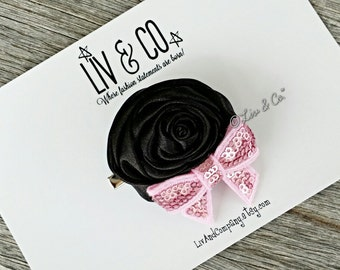 Black and Pink Rosette Flower Baby Hair Clip,Toddler Hair Clip,Hair Clip for Babies and Toddlers,Hair Clips for Girls,Clippies,Liv & Co.™