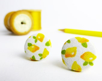 Yellow earrings   Lemon earrings   Stud earrings  Cute earrings   50s earrings   Gift for women   Stocking fillers   Secret Santa gift